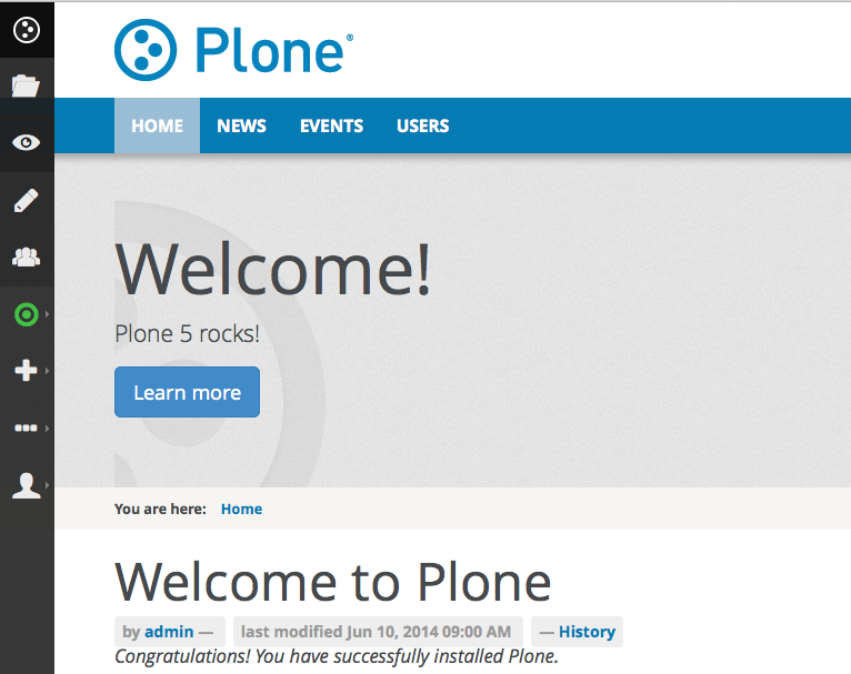 Plone 5 Screenshot